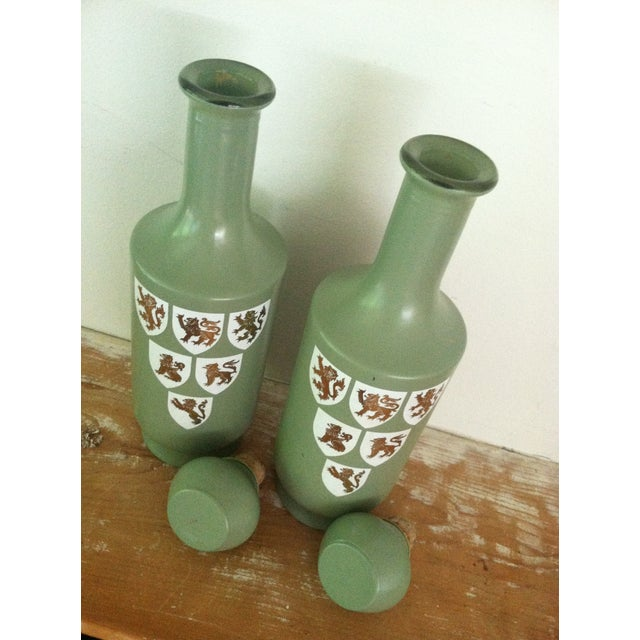 1960s Painted Glass Wine Decanters- A Pair - Image 5 of 6