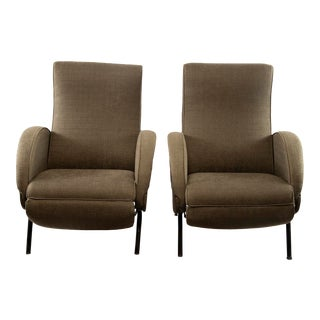 Pair Italian Mid Century Reclining Chairs With New Upholstery For Sale