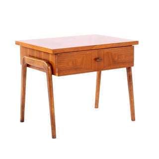 Lane Harlequin Mid Century Burlwood and Walnut Nightstand For Sale