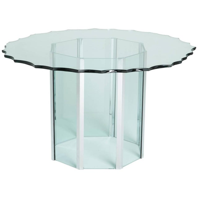 1970s Custom Glass and Chrome Table by Pace - Image 1 of 7