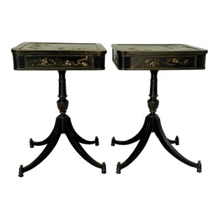 20th Century Chinoiserie Pedestal Side Tables - a Pair For Sale