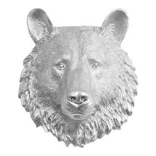 Wall Charmers Faux Silver Mini Bear Head Wall Sculpture For Sale