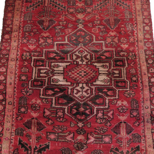 Antique 4 X 8 Red Pink and Brown Hand Knotted Wool Runner Rug For Sale - Image 4 of 7