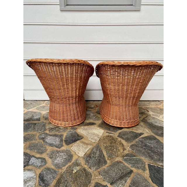 Brown Vintage Boho Chic Wicker Scoop Chairs - a Pair For Sale - Image 8 of 10