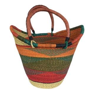 Bolga Ghana Orange Yikene Beach Bag Woven Basket For Sale