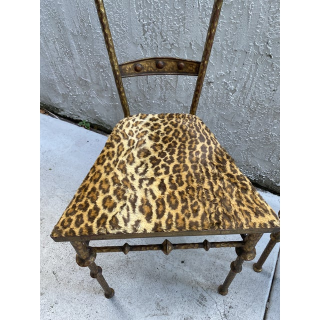 Gold Cheetah Print Giacometti Style Chairs - a Pair For Sale - Image 9 of 11