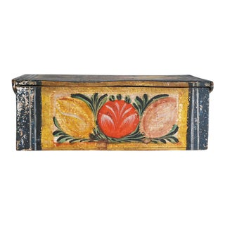 19th Century Folk Art Painted Wood Box For Sale