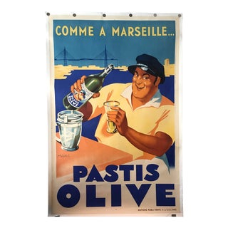 1930s Pastis Olive French Poster For Sale