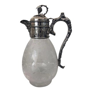 Antique Bacchus Victorian Silver and Crystal Claret Jug For Sale