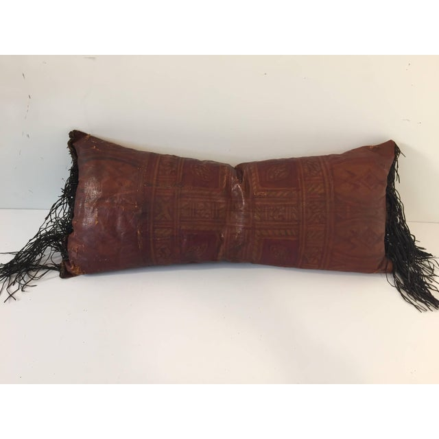 African Tuareg Leather Pillow With Fringes For Sale - Image 10 of 10