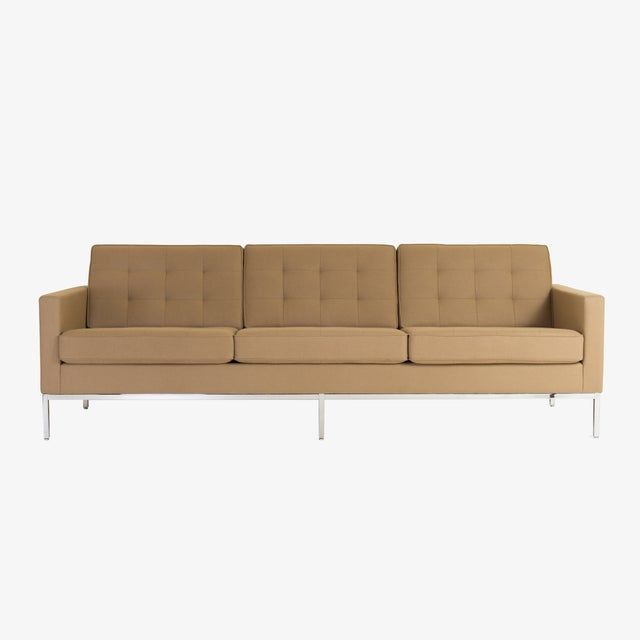 Tan Florence Knoll Sofa in Camel Wool Flannel For Sale - Image 8 of 8