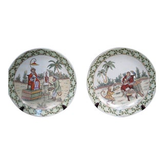 Speer Collectibles Monkey Decorated Plates - a Pair For Sale