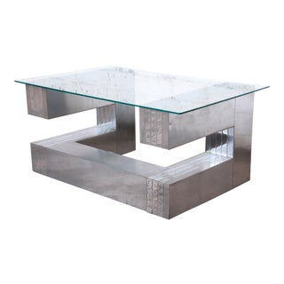 Paul Evans Cityscape Style Chrome and Glass Cantilevered Coffee Table For Sale
