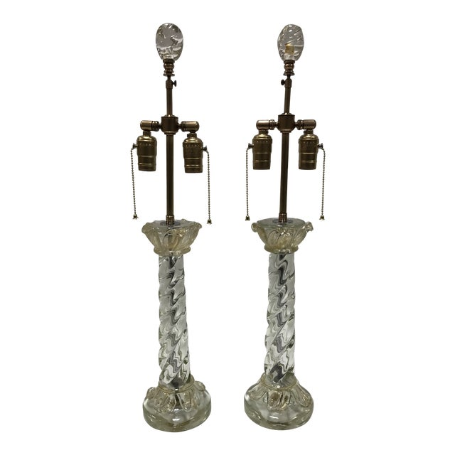Mid-Century Barovier & Toso Murano Glass Lamps With Acanthus Glass Leafs - a Pair For Sale