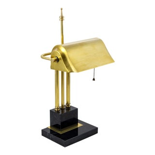 Brass & Black Marble Task Lamp For Sale