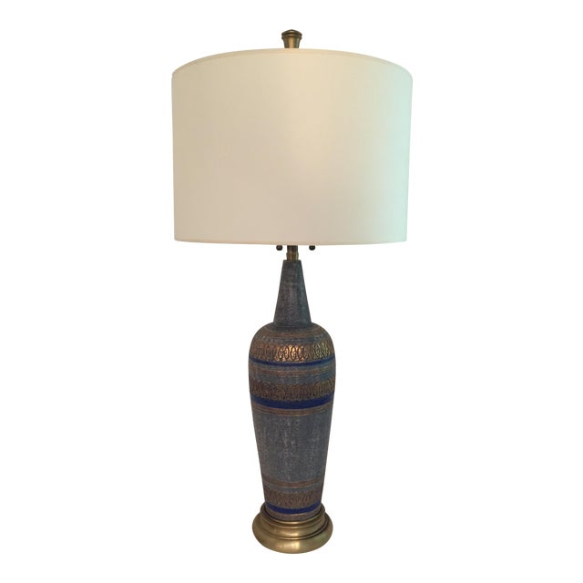 Vintage Blue Mid-Century Lamp - Image 1 of 6