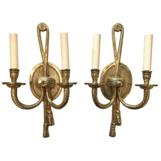 A Pair of Hollywood Regency Cast Brass Two Light Sconces For Sale
