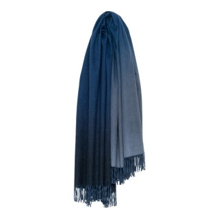 Nuance Ombre Cashmere Throw, Turquoise and Blue For Sale