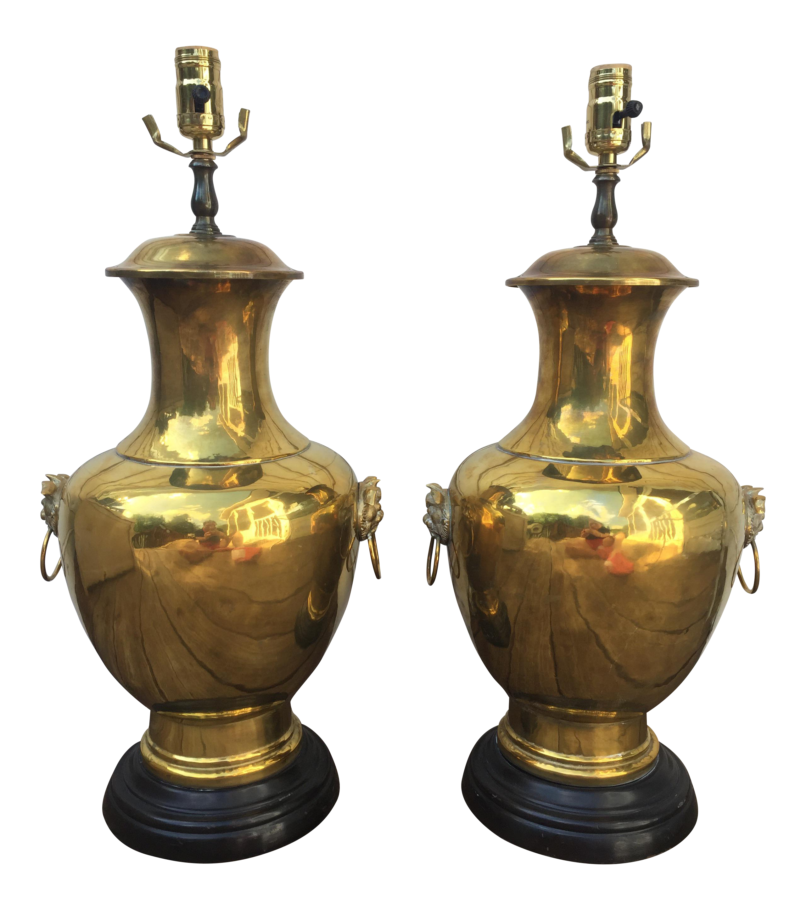 Brass Foo Dog Lamps   A Pair