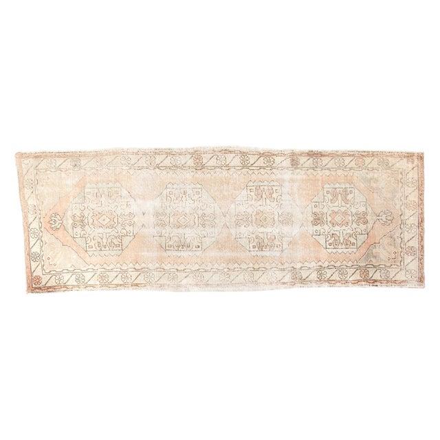 "1940's Distressed Oushak Rug Runner - 3'1"" x 8'7"" - Image 1 of 7"