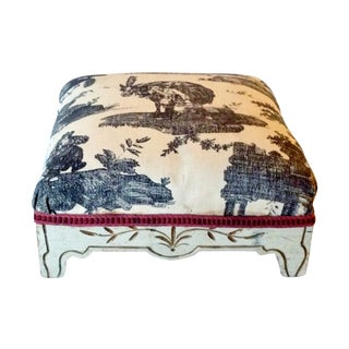 Painted French Footstool with Black & White Toile For Sale