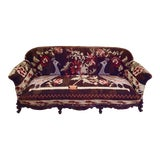 Image of Antique French Serpentine Sofa Upholstered in Antique Karabagh Peacock Kilms For Sale