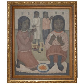 Luis Lusnich Mid Century Modern Oil Painting Girls With Birds & Cat 1974 For Sale