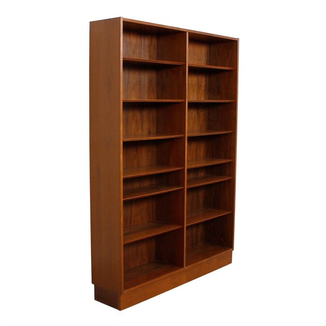 Danish Modern Double Bookcase with Adjustable Shelves in Walnut - Image 2 of 7