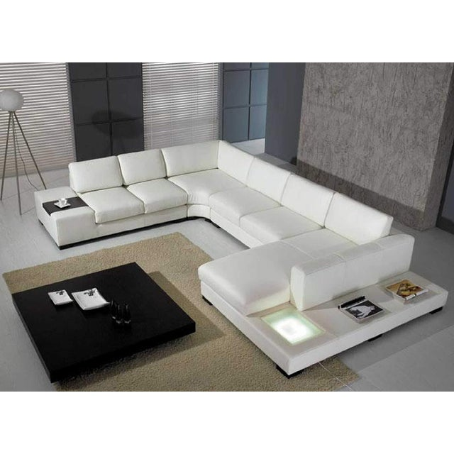 T35 White Leather Sectional Sofa With Lights - 3 PC. For Sale In Los Angeles - Image 6 of 6