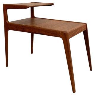 1960s Scandinavian Modern Teak Stepped Side Table For Sale