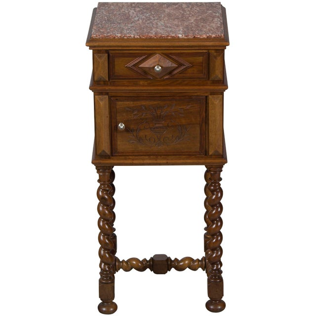 1900s French Marble Topped Walnut Pot Cupboard For Sale - Image 13 of 13