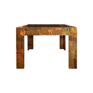 1970s Paul Evans Patchwork Metal Cocktail Table For Sale
