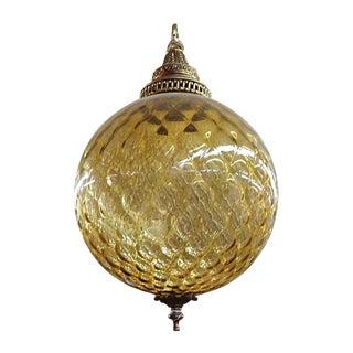 1970s Amber Glass Globe Light