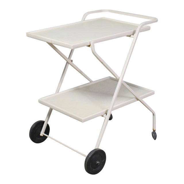Mid Century Modern Samsonite Tiered Patio Drink Cart of Fiberglass and Enameled Steel Tube in White For Sale