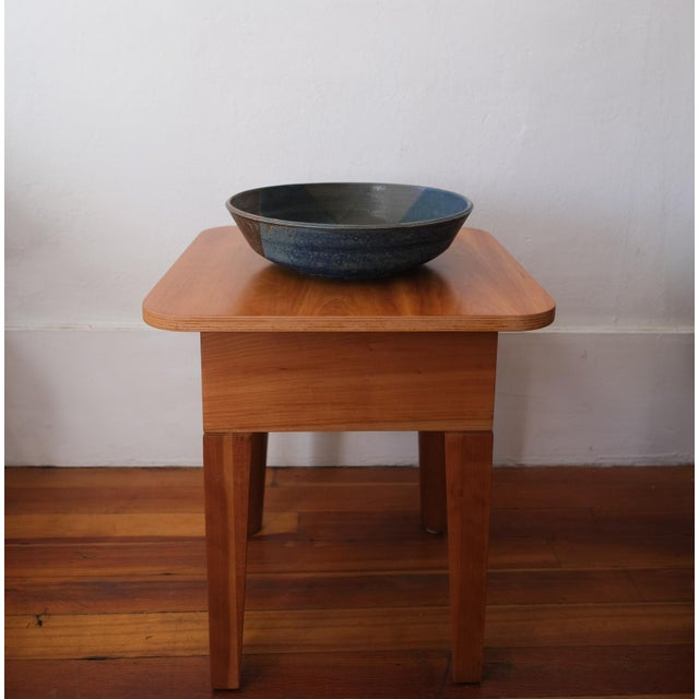 Large ceramic bowl by California artist, Hal Fromhold. Classic Fromhold blue over green glaze. Signed on the bottom,...