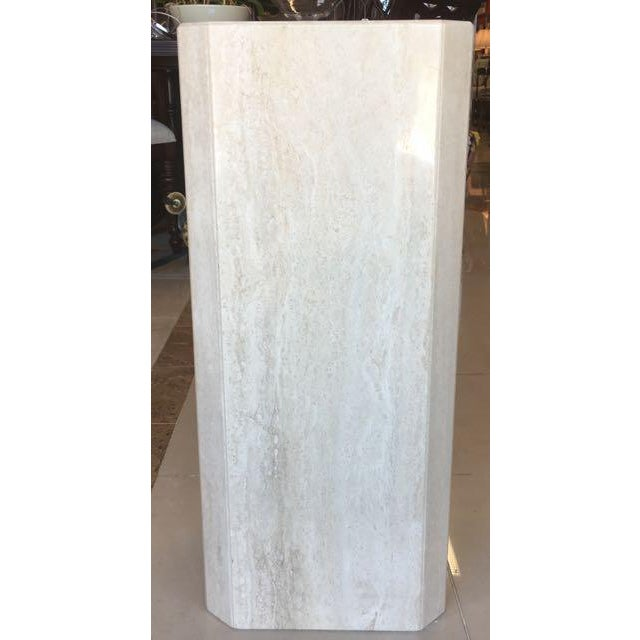 Gray Travertine Marble Pedestal For Sale - Image 4 of 10