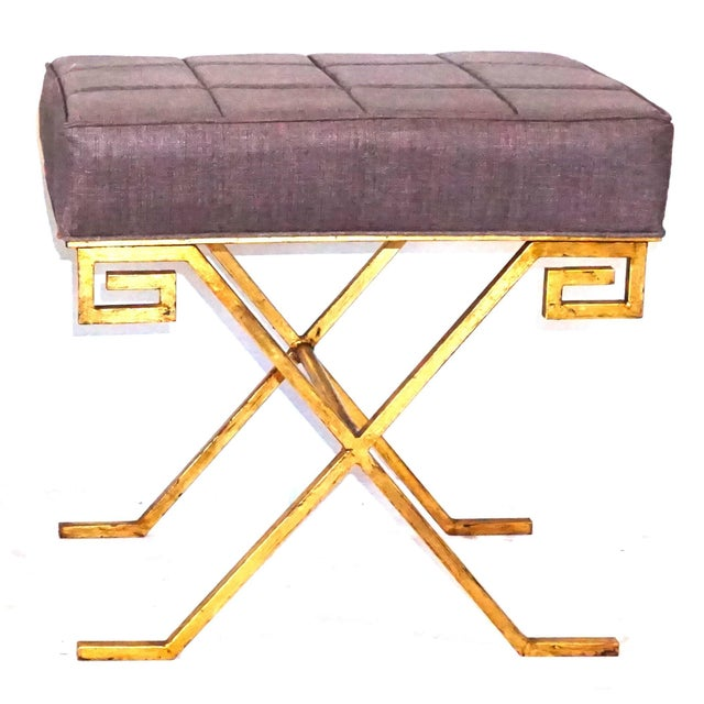 20th Century Gold Iron Stools After Jean Michel Frank - a Pair For Sale - Image 4 of 6