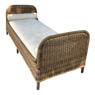 Early 20th Century Antique Art Rattan Works Wicker Daybed For Sale