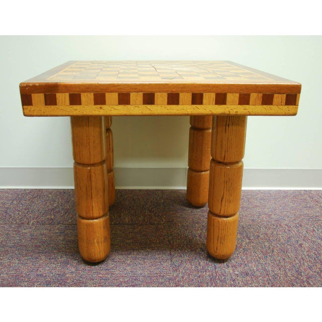 Postmodern Oak and Walnut Inlay End Table, Circa 1980 For Sale - Image 4 of 11