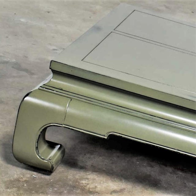 Paint Monumental Square Asian Ming Style Lacquered Coffee Table in Sage Green For Sale - Image 7 of 13