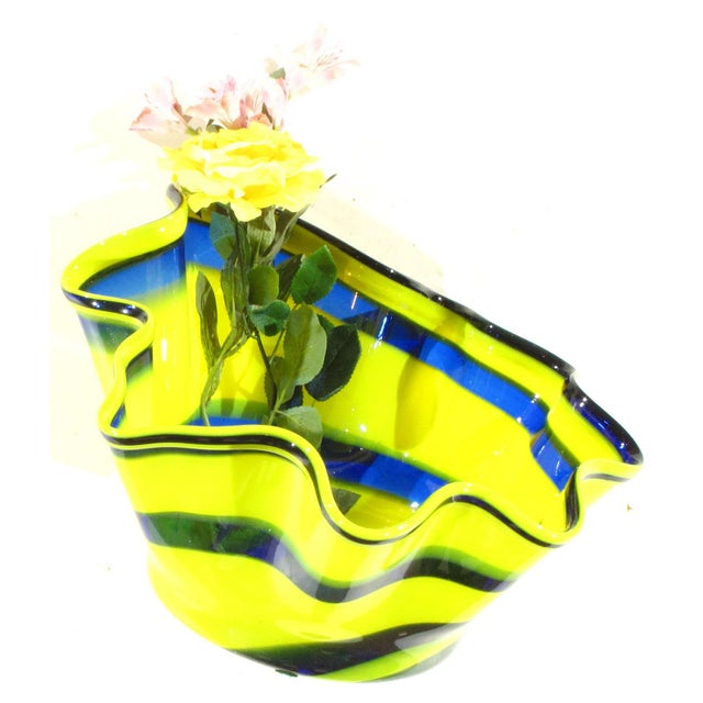 Pasargad N Y Multi Colored Handkerchief Shaped Blended Glaze Bowl For Sale - Image 4 of 8