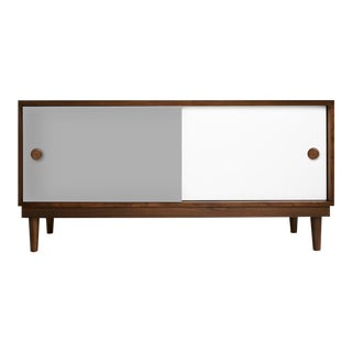 Lukka Modern Kids Credenza Console in Walnut With Gray Finish For Sale