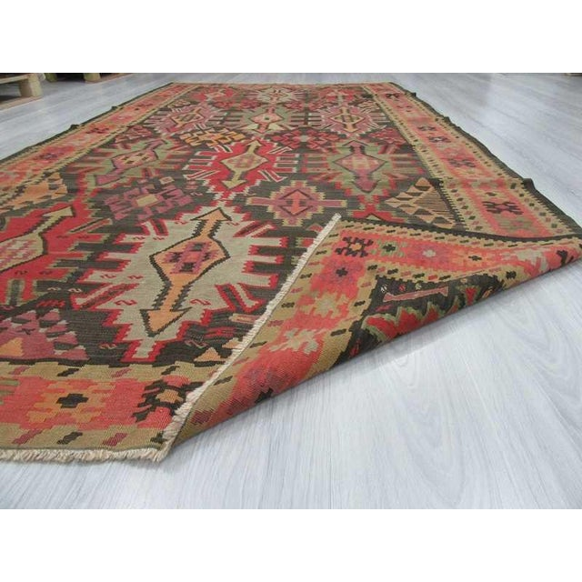 """Vintage Handwoven Caucasian Kilim Rug - 5'8"""" X 10'8"""" For Sale In Los Angeles - Image 6 of 6"""
