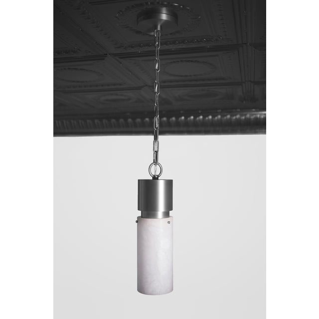 Contemporary Modern Contemporary 000 Pendant in Nickel and Alabaster by Orphan Work For Sale - Image 3 of 5