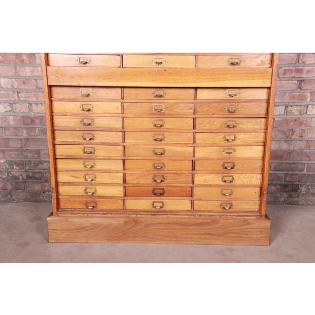 Antique Oak 57-Drawer Cabinet, Circa 1920s For Sale In South Bend - Image 6 of 13
