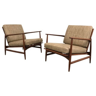 Ib Kofod Larsen for Selig Danish Modern Teak Lounge Chairs - a Pair For Sale