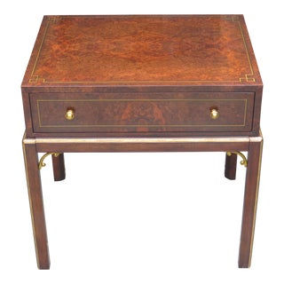 Vintage Theodore Alexander Burl Walnut 1 Drawer Occasional Table For Sale