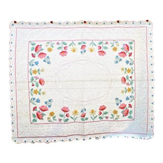 American Applique Bed Quilt For Sale