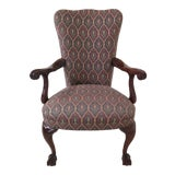 Image of Chippendale Upholstered Ball & Claw Mahogany Armchair For Sale