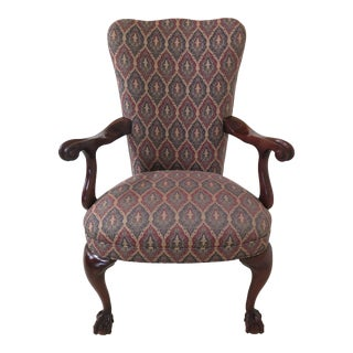 Chippendale Upholstered Ball & Claw Mahogany Armchair For Sale